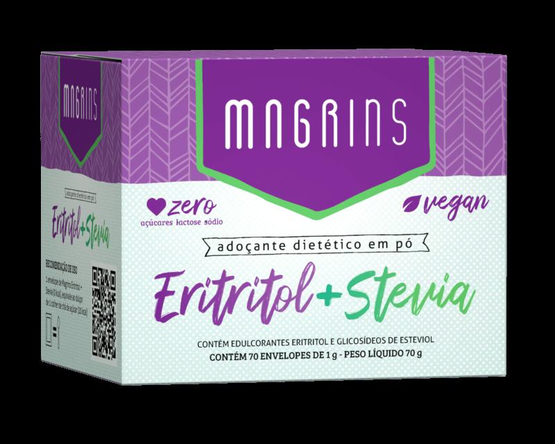 Adoçante dietético em pó magrins eritritol + stévia 1g - Stevia Soul - cx c/ 70 sachês
