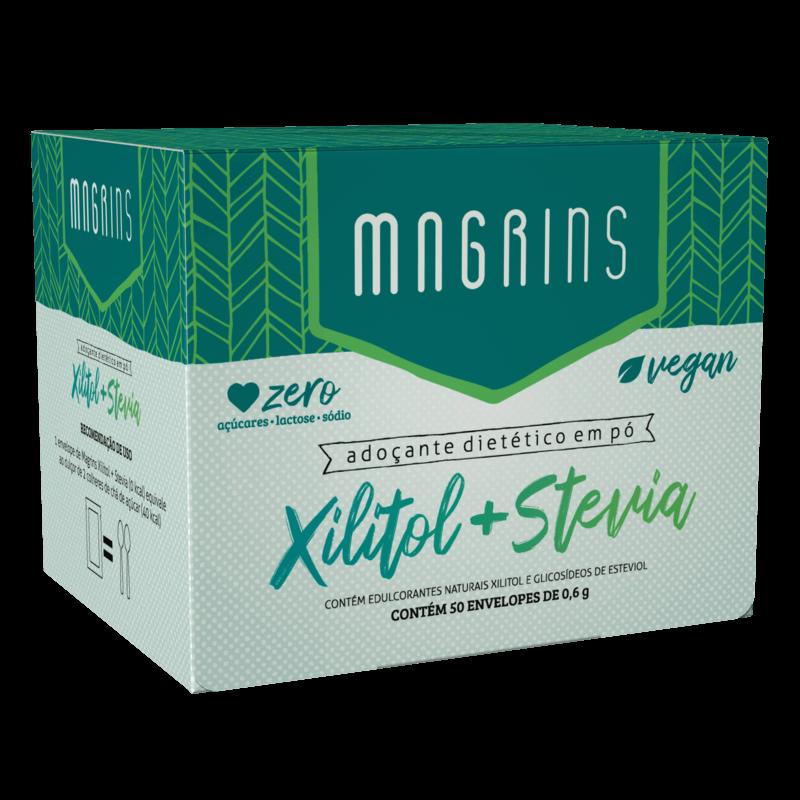 Adoçante dietético em pó magrins xilitol + stévia sachê 0,6g - Stevia Soul - cx c/ 50 sachês