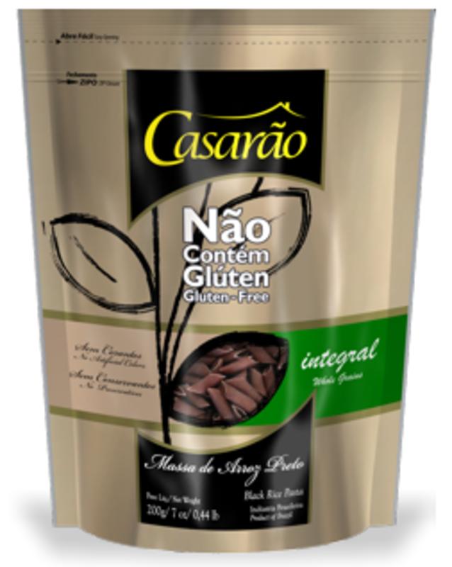 Massa de arroz preto penne integral 200 g - Casarão - 01 un