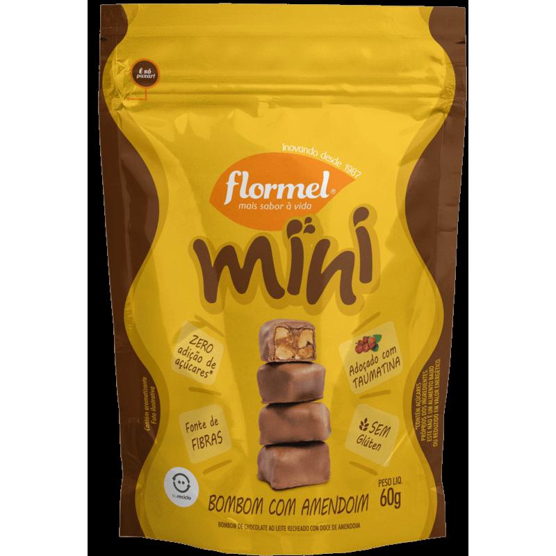 Mini bombom ao leite c/ amendoim zero - Flormel - 01 pouch