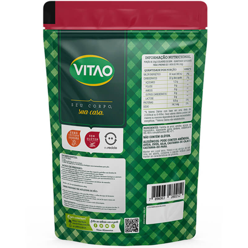 Mix para pão tradicional s/ glúten - Vitao - 01 un