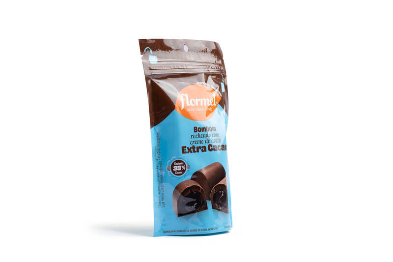 Bombom de chocolate ao leite c/ recheio de creme de avelã extra cacau zero - Flormel - 01 pouch c/ 05 bombons
