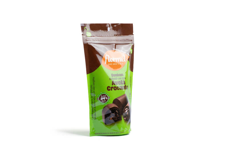 Bombom de chocolate ao leite c/ recheio de creme de avelã crocante zero - Flormel - 01 pouch c/ 05 bombons