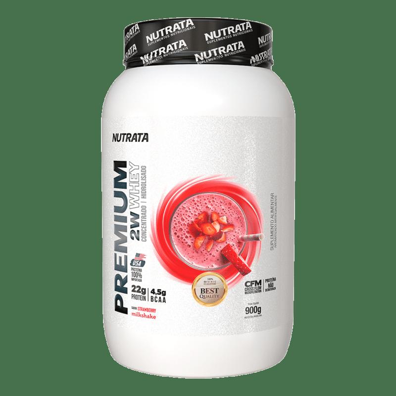 Premium 2w whey sabor milkshake de morango 900 g - Nutrata - 01 un