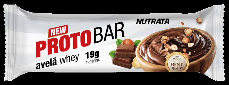 Barra de proteína protobar avelã whey sabor creme de avelã 70g - Nutrata - cx c/ 08 un