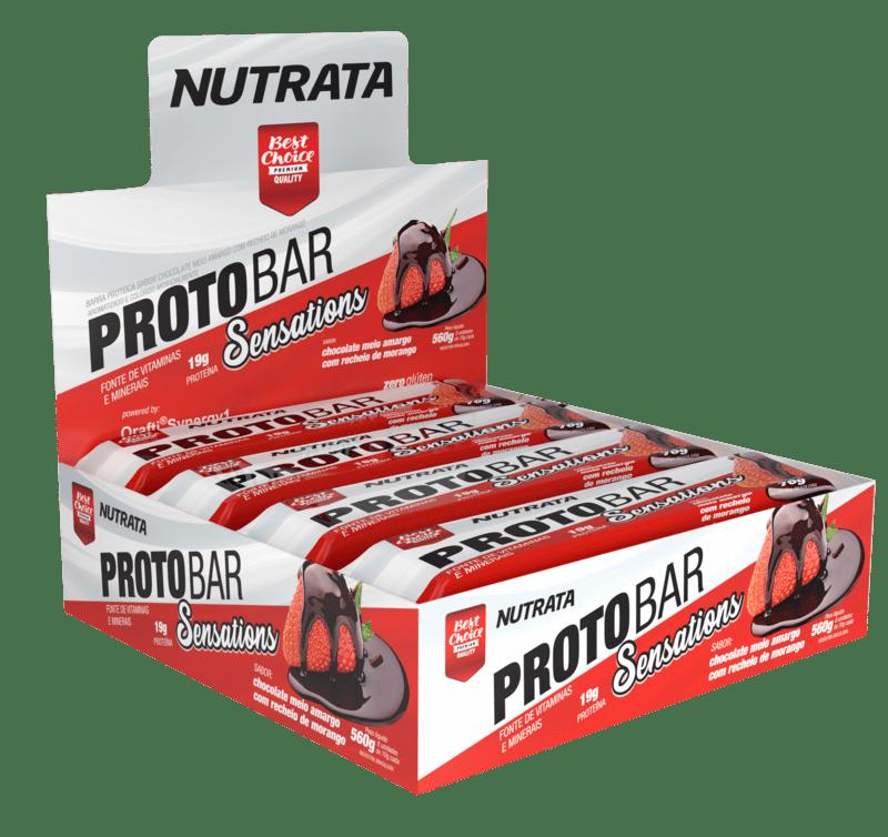 Barra de proteína protobar sensations sabor chocolate meio amargo c/ recheio de morango - Nutrata - cx c/ 08 un.