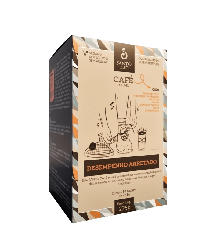 Café vegano solúvel desempenho arretado - Santo Óleo - 01 cx c/ 10 sachês