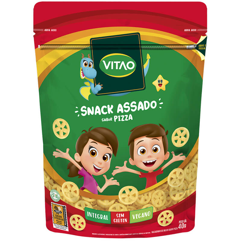 Snack integral sabor pizza linha kids 40g - Vitao - 01 un