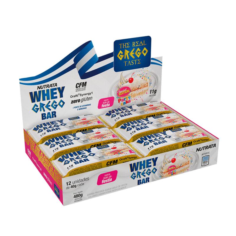 Barra de proteína whey grego bar sabor bolo de festa - Nutrata - cx c/ 12 un.