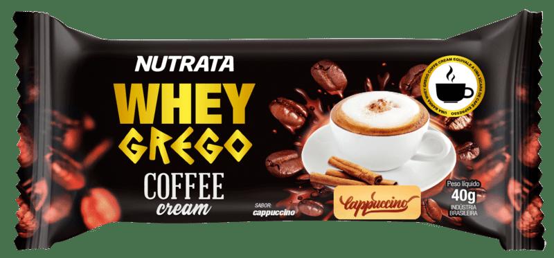 Barra de proteína whey grego bar coffee cream sabor cappuccino - Nutrata - caixa c/ 12 un.
