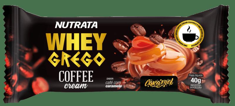 Barra de proteína whey grego bar coffee cream sabor caramelo - Nutrata - caixa c/ 12 un.