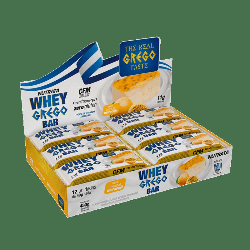 Barra de proteína whey grego bar sabor mousse de maracujá - Nutrata - cx c/ 12 un.