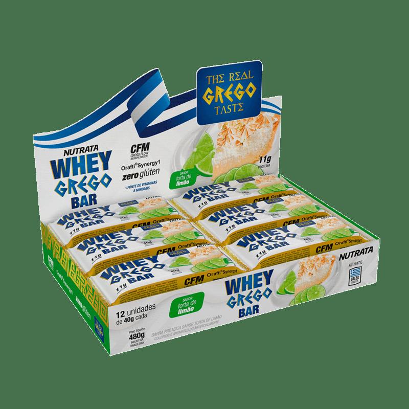 Barra de proteína whey grego bar sabor torta de limão - Nutrata - cx c/ 12 un.