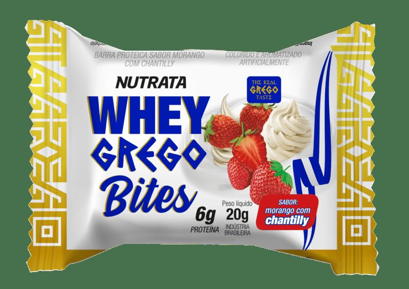 Barra de proteína whey grego bites morango c/ chantilly - Nutrata - un