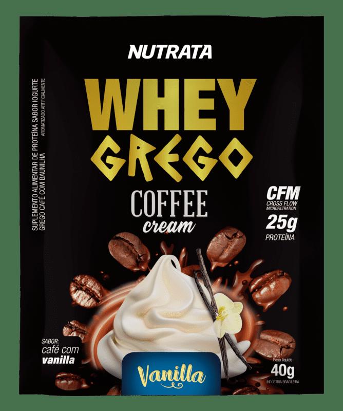 Whey grego coffee cream sabor baunilha sachê - Nutrata - 01 cx c/ 12 sachês