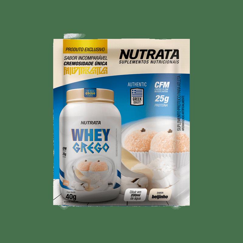 Whey grego sabor beijinho sachê - Nutrata - 01 cx c/ 12 sachês