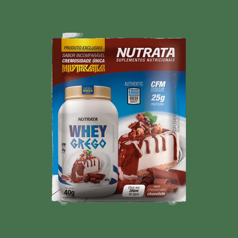 Whey grego sabor cheesecake de chocolate sachê - Nutrata - 01 cx c/ 12 sachês