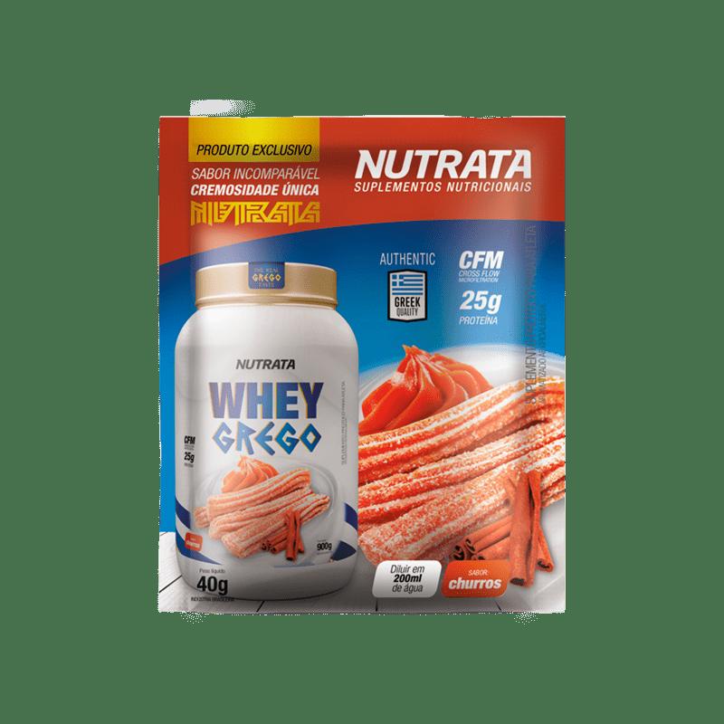 Whey grego sabor churros sachê - Nutrata - 01 cx c/ 12 sachês