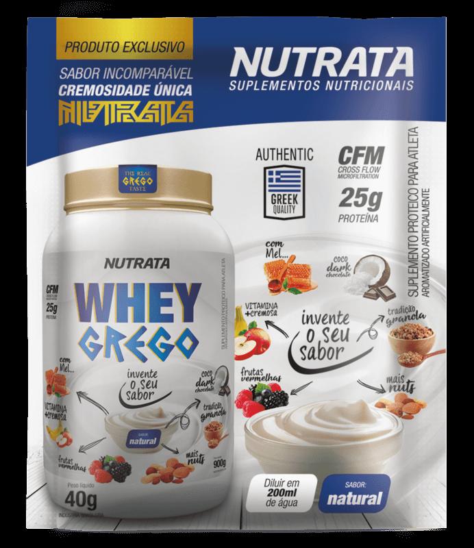 Whey grego sabor iogurte natural sachê - Nutrata - 01 cx c/ 12 sachês