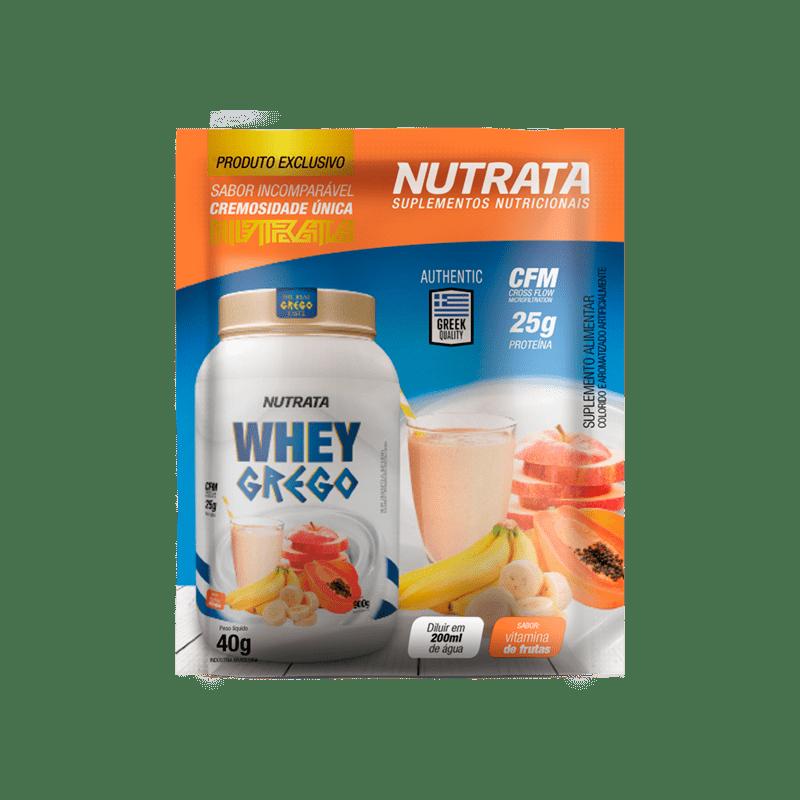 Whey grego sabor vitamina de frutas sachê - Nutrata - 01 cx c/ 12 sachês