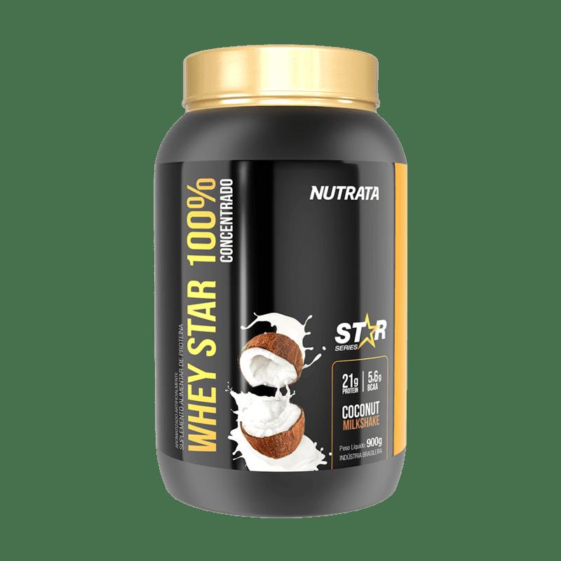 Whey star 100% concentrado sabor milkshake de coco linha star 900 g - Nutrata - 01 un