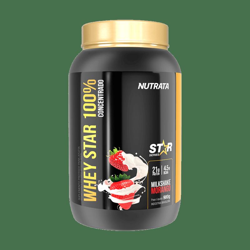 Whey star 100% concentrado sabor milkshake de morango linha star 900 g - Nutrata - 01 un