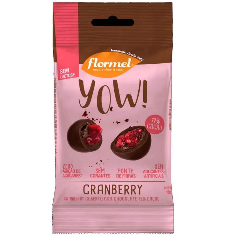 Drageado de chocolate ao leite yow sabor cranberry - Flormel - unidade