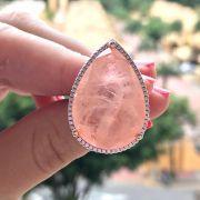Anel de Prata 925 Gota Fusion Moganita e Zirconias Rosas