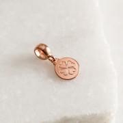 Berloque de Prata 925 Placa Trevo Banho Ouro Rose