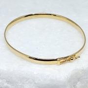 Bracelete Prata 925  5mm Aro Quadrado Banho Ouro 18k