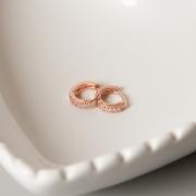 Brinco de Argola 9mm Cravejada Banho Ouro Rose