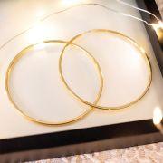 Brinco de Argola de Prata 925 Grande 6 cm de diâmetro Banho Ouro 18K