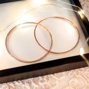 Brinco de Argola de Prata 925 Grande 6 cm de diâmetro Banho Ouro Rose