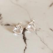 Brinco de Prata 925 Coração Cristal