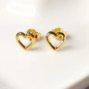 Brinco de Prata 925 Coração Vazado  6mm Banho Ouro 18k