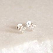Brinco de Prata 925 Mini Cruz Cravejada