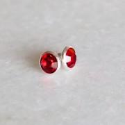 Brinco de Prata 925 Ponto de Luz Vermelho 9mm