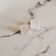 Brinco de Prata 925 Quadrado Cravejado de Zircônias