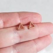 Brinco de Prata 925 Triângulo Banho Ouro Rose