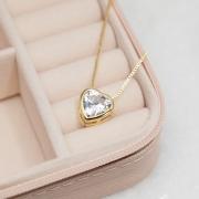 Colar Coração Cristal Banho Ouro 18k