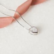 Colar Coração Cristal Banho Ródio Branco