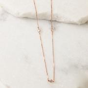 Colar Corrente Cristal 90cm Banho Ouro Rose