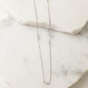 Colar Corrente Cristal 90cm Banho Ródio Branco