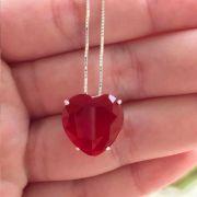 Colar Prata 925 Coração Rubi