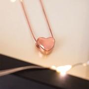 Colar de Prata 925 Coração Banho Ouro Rose