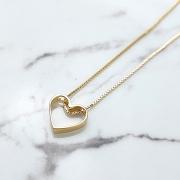Colar de Prata 925 Coração Vazado Banho Ouro 18K