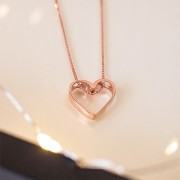 Colar de Prata 925 Coração Vazado Banho Ouro Rose