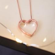 Colar de Prata 925 Coração Vazado M Banho Ouro Rose