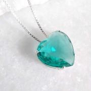Colar de Prata 925 Coração Verde