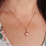 Colar de Prata 925 Estrela Banho Ouro Rose